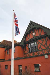 The flagpole at the Ipswich and Suffolk Club which can often be seen flying the flag of Saint Edmund - the county flag of Suffolk