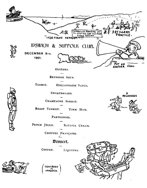 A copy of an original menu from the Ipswich and Suffolk Club